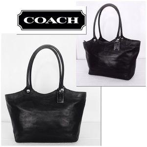 Coach LG Black Leather Bleeker Tote Shoulder Bag